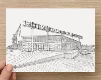 Ink sketch of The Museum of Industry in Baltimore, Maryland - Drawing, Art, Architecture, Pen and Ink, Perspective, 5x7, 8x10, Print