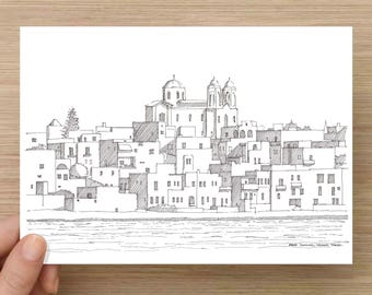 Ink Sketch of white buildings in Paros, Greece - Drawing, Art, Pen and Ink, Mediterranean, Whitewash, Greek, Architecture, 5x7, 8x10, Prints