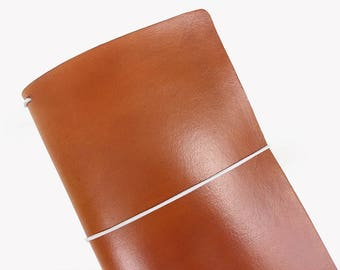 Orange Leather Travelers Cover - Vegetable Tanned - CityGirl Collection - Pumpkin Spice - Notebook - Full Grain - Journal - Hand-Dyed