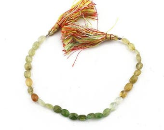 Valentines Day 1 Strand PREHNITE Faceted Center Drill Oval Beads Briolettes 6mmx5mm-8mmx7mm 7.5 Inch SB1850