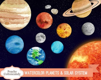 BUY 2 GET 1 FREE Watercolor Planets and Solar System Clip Art - science planet & space clipart watercolour illustration -Commercial Use Ok