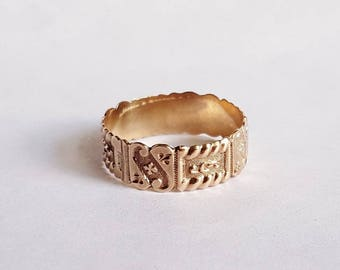 Victorian 10K Rose Gold Cigar Band Patterned Wedding Band Ring Size 8