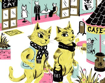 Shopping Cats Card