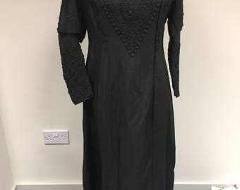 Victorian Black Silk Mourning Gown