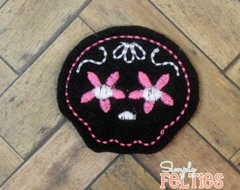 Sugar Skull Felties-- Black with Pink and White--Set of 4