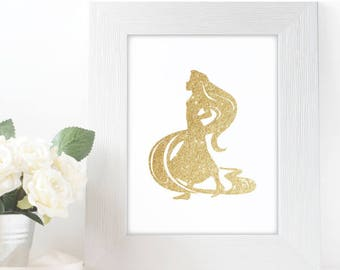 "Gold Glitter Princess Rapunzel Silhouette,  5x7"" 8x10"" incld., DIGITAL PRINTABLE File, Gold Sparkle Princess, Disney Princess Decor, Tangled"