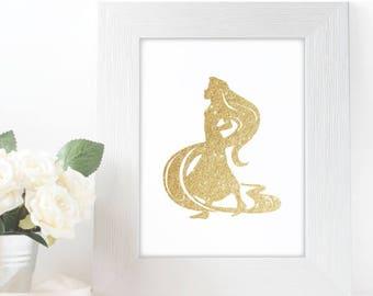 "Gold Glitter Princess Rapunzel Silhouette,  5x7"" 8x10"" incld., DIGITAL PRINTABLE File, Gold Sparkle Princess, Disney Princess Decor, Tangled"