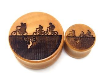 Pair of Engraved Stranger Things - Upside Down Plugs [Cherrywood / Wood Stretchers 14mm - 60mm] Price Per Pair