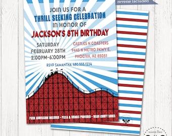 Roller Coaster Birthday Invitation, Theme Park Party Invitation, Digital Rollercoaster Invite, Destination Party Invite, Teen Party Invite