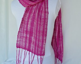 Handwoven Silk Scarf - Magenta and White