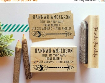 BACK TO SCHOOL Sale Personalized Feather Business Card Stamp, Business Card Rubber Stamp
