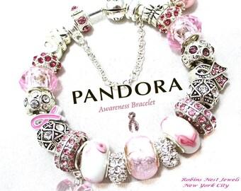 Awareness Bracelet,Choose Authentic Pandora Bracelet, Sterling Silver,OR, European Style Bracelet,Silver Plate,Non Branded Charms, PWH5