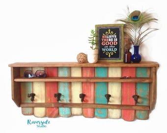 Wood Shelf Coat Rack Cast Iron Coat Hook, Shabby Cottage Beach Chic, Coral, Aqua Blue, Bohemian Furniture, Bathroom Hanger, Pallet Furniture