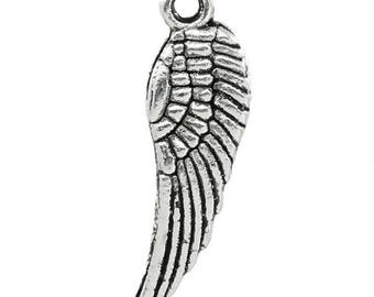 "Metal pendant, charm pendant ""Wing""-50 pcs.-5 x 17 mm-Silver colours"