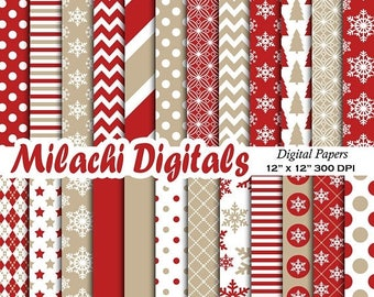 60% OFF SALE Christmas digital paper, holiday scrapbook papers, snowflake wallpaper, christmas tree background - M454