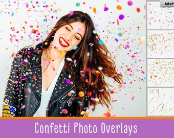 Realistic falling Confetti overlays, PNG, Transparent background, Brushes, clip art, clipart, blowing, photoshop, psd, photography effect