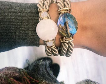 Wrapover over taupe bracelet