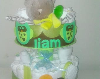 """Sweet owls"" diaper cake boy version"