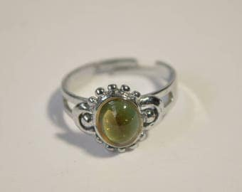 Vintage Silver Tone Blue Green Glass Ring Size 5-9 Adjustable