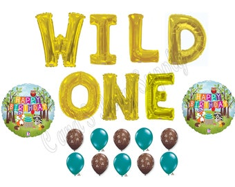 "LARGE 34"" WILD ONE Woodland Friends 1st Birthday Party Balloons Decoration Supplies First"