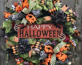 Happy Halloween, Halloween wreath, Bat wreath, Halloween wreath