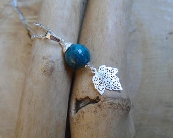 Sterling Silver and Apatite necklace / spring leaves
