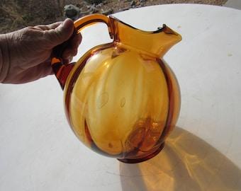 Vintage Round Amber Glass Pitcher