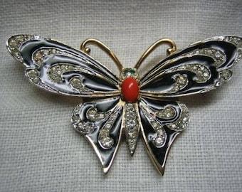 Vintage Rhinestone Enamel Butterfly Brooch Signed SA