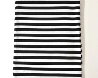 """Black and White Narrow 1/4"""" Stripes Super Soft Stretch Jersey Swaddle Receiving Infant Blanket"""