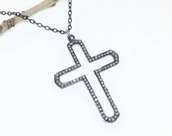 10% Pave Diamond Cross Pendant/  necklaces set in sterling silver 925. Length- 2 inches. Diamond Carat weight - 1.35