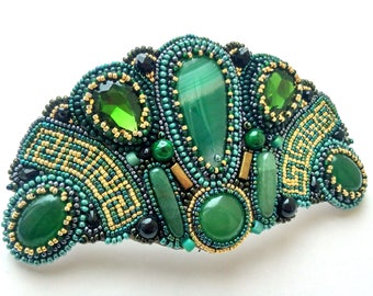 Beaded embroidery hair clip Green Gold hair clip Gemstone barrette for women Bead embroidered barrette Hair accessories Beaded barrette