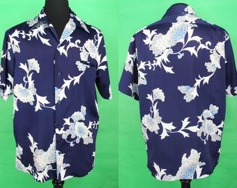 Hawaiian Shirt    70's Tori Richard Navy Blue Peony Motif Hawaiian Shirt Size XL