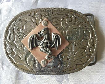 Stainless , copper dragon belt buckle