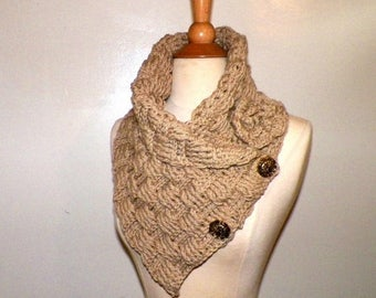 On Sale- Outlander Scarf Triangle Infinity Cowl Tan Beige Oversized Celtic Highland Chunky  Neckwarmer Winter  Crochet Knit Womens Winter Sc