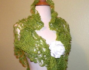 On Sale- Green Lace Shawl Triangle Bridal Crochet Mohair With Sequin Light Olive Green Bridal Wedding Wrap Scarf Lacy Summer Wrap With  Broo