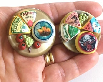Miniature gourmet cheese plate, 2 variations/ miniature food/ miniature dinner/ miniature party food/ miniature restaurant/ miniature cheese