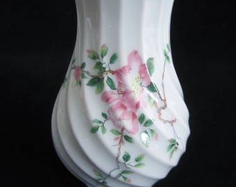 Haviland Limoges Flower Vase - vintage white porcelain, has swirled background, hand decorated with pink apple blossoms. Housewarming Gift!