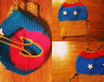 Wonder Woman clutch purse with lasso by Ansley Jukeboxx Joye