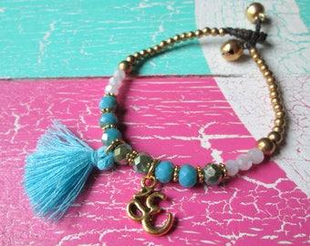 Pearl bracelet with shimmering Crystal beaded tassel & OM * hippie Yoga boho Festival Ibiza style * gold turquoise