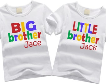 Personalized brother shirts. Sibling shirt set. Big brother, little brother. Custom sibling shirt SET OF 2.  Colorful block letters.