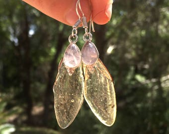 unique Cicada wings earrings handmade cast in resin with rose quartz and sterling silver from new zealand