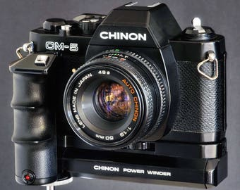 Pentax K Chinon CM-5 35mm SLR Camera & PK 50mm f/1.9 Prime Lens + Power Winder Pw-600 Students Camera NiCE !