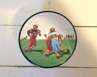 Vintage candy tin, w/ football players