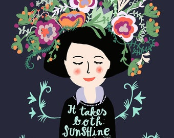 It takes both: sunshine and rain to grow a garden, wall art print for gardeners, woman with flowers and quote, illustration digital art