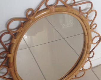 Beautiful vintage  bamboo/rattan wall mirror