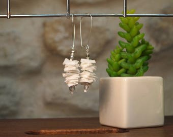 White fabric earrings