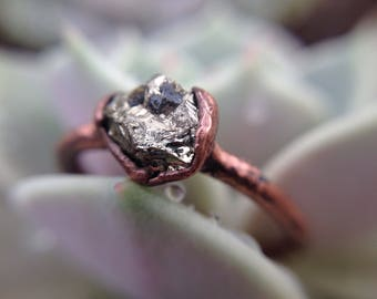 Pyrite Ring | Pyrite Copper Ring | Copper Ring | Raw Pyrite Stone | Pyrite | Size 6 1/2 | Ready-To-Ship