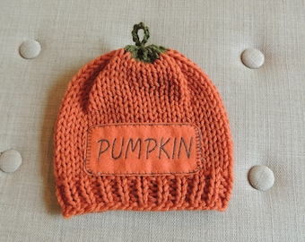 Hand Knit Pumpkin Beanie, Luv Beanies, Baby Beanie, Pumpkin Hats, Baby Photo Prop, Baby Hats, Pumpkin Photo prop