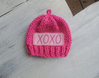 Hand knit Beanie, Luv Beanies, Baby Beanie, Personalized beanie, XOXO Beanie, Pink Beanie, Valentines hats, Photo prop, Baby hats, Girl hats