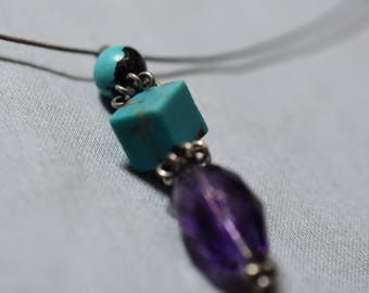 Turquoise and amethyst on sterling silver